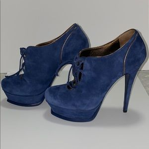 YSL - Blue Suede Lace Up Booties with Gold Details